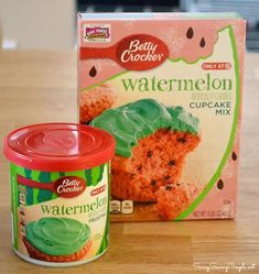 """One of cupcake flavors I want to serve: """"Watermelon Cupcakes-Featuring Betty Crocker Watermelon Cake Mix and Frosting"""" Baby Shower Watermelon, Watermelon Birthday Parties, First Birthday Parties, First Birthdays, Birthday Ideas, Watermelon Cake Pops, Watermelon Decor, Cupcake Mix, Cupcake Cakes"""