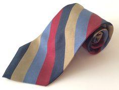 Saks Fifth Avenue Neck Tie Blue Burgundy Tan Striped MADE IN ITALY 100% Silk #SaksFifthAvenue #NeckTie