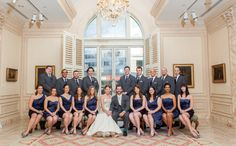 Gorgeous wedding party in Navy and charcoal gray.