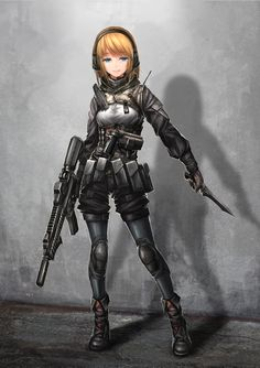 1girl ankle_boots assault_rifle belt_pouch blonde_hair blue_eyes boots full_body gloves gun handgun headset highres knee_pads knife long_hair military military_uniform original rifle shorts soldier solo tagme tom-neko_(zamudo_akiyuki) underbust uniform weapon