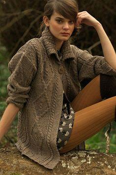 Carraig Donn Irish Aran Wool Sweater Womens Cable Knit One Button Long Diamond Cardigan