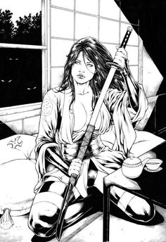 Black and white samurai. Comic Book Characters, Comic Character, Comic Books Art, Comic Art, Bd Comics, Comics Girls, Anime Comics, Anime Sensual, Art Anime