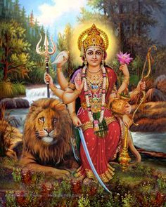 A beautiful art print of Durga Mata, Mother of the Universe, pure Shakti. As the consort of Shiva, seated on a lion or tiger, she is armed with celestial weapons to slay evil.