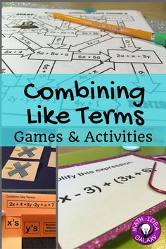 Math Games With Cards Interactive Notebooks Ideas Math Classroom, Classroom Activities, Math Math, Math Teacher, Maths, Math Card Games, Fun Math Games, Combining Like Terms, Enrichment Programs