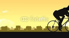 Cyclist with bike on the road. Design with Adobe Illustrator and Anime Studio Pro from Eric Scherrer