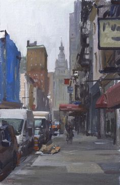 Plein air painting of Chambers Street in Tribeca, New York - Marc Dalessio