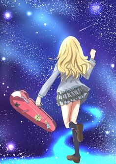 Stars light up the night. You Liar, Hibi Chouchou, Miyazono Kaori, Art Manga, Your Lie In April, Anime Music, Fan Art, Kingdom Hearts, Me Me Me Anime