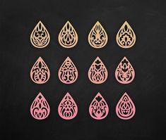 SVG Faux leather earrings Set Teardrop Pendant laser cut