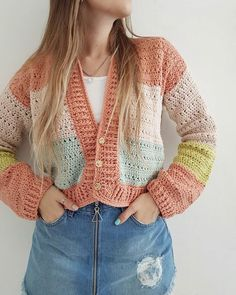 Gilet Crochet, Crochet Cardigan, Crochet Stitches, Knit Crochet, Crochet Cable Stitch, Mode Crochet, Crochet Baby, Crochet Crafts, Crochet Projects