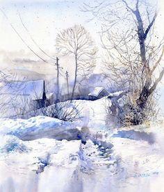 художник G. Wrobel рисует снег ультрамарином