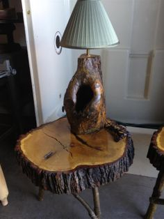 Log Cabin Themed End Tables with Built In Lamps