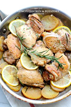 One-Pot Lemon Chicken and Potatoes - This delicious, flavorful dish with chicken and potatoes is a complete meal made all in one pan and in just 30-minutes!