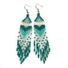 Turquoise seed bead earrings beadwork jewelry di Anabel27shop