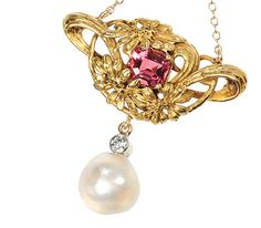 Art Nouveau Walton & Co. gold lavalier necklace with a pink tourmaline and a baroque natural saltwater pearl c.1900