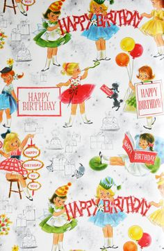 Vintage Gift Wrapping Paper Happy Birthday Girls Party