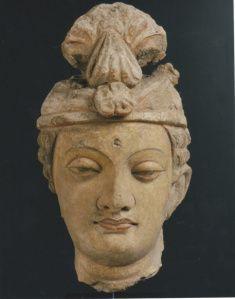 Bodhisattva head, Gandhara, Stucco, 25 cm (10 in) c. 4th-5th Century A.D.