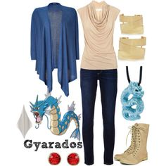 gyarados Created by shoelacekid Pokemon, earrings, necklace, shoes, pants… Cartoon Outfits, Anime Outfits, Cool Outfits, Fashion Outfits, Pokemon Outfits, Disney Fashion, Fashion Ideas, Anime Inspired Outfits, Character Inspired Outfits
