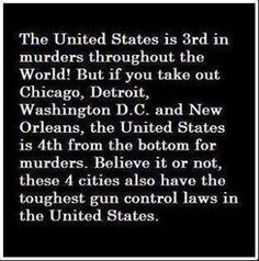 Results of gun control. 4 gun control cities make that much difference in the stats. That also means that if guns were allowed everywhere, we would be the safest nation on the planet. Thats The Way, That Way, Just In Case, Just For You, Gun Rights, Civil Rights, Out Of Touch, 2nd Amendment, Way Of Life