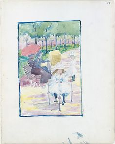 "Maurice Brazil Prendergast (1858-1924), ""A Girl Riding a Tricycle in the Park"" (from Large Boston Public Garden Sketchbook) - The Metropolitan Museum of Art ~ New York, New York, USA"