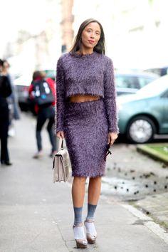 Fuzzy purple skirt, crop combo in Milan.