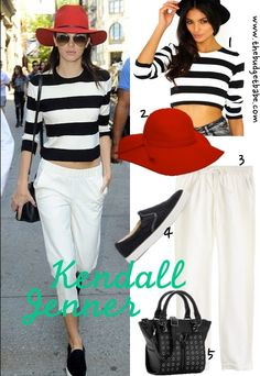 Kendall Jenner pulls off a laid-back preppy look with bold stripes, cropped white pants, and...