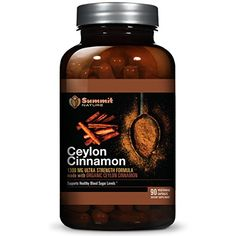 Organic Ceylon Cinnamon Supplement - 1300mg Superior Strength True Cinnamon, 90 Vegetarian Capsules, 100% Vegan, Sourced Directly from Sri Lanka, Made In USA, Supports Blood Glucose Levels *** Details can be found by clicking on the image.