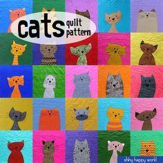 Atelier de modèle chats Quilt (courtepointe de kitty modèle numérique, PDF, appliques)