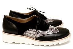 Chaussures Femme Richelieux Printemps Eté 2015 Maurice Manufacture BIANCA Veau lisse noir - Spiga - Chèvre velours noir