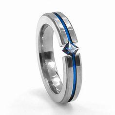 Titanium & Sapphire Diagonal Ring by Edward Mirell - $193.00 #TitaniumJewelry #EdwardMirell #Sapphire