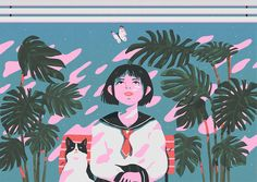 The girl, cat, butterfly and.. on Behance