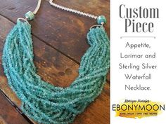 The best thing about what we do is the chance to let creativity flow. This piece was made for a very happy client... Feat your eyes on this Appetite Larimar and sterling silver waterfall necklace.  www.ebonymoon.co.za  #ebonymoon #necklace #jewelry #design Tassel Necklace, Turquoise Necklace, Crochet Necklace, Copper And Brass, Copper Jewelry, Flow, Waterfall, Creativity, Jewelry Design