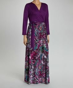 Gorgeous! $29.99    Loving this Purple Paisley Surplice Maxi Dress - Plus on #zulily! #zulilyfinds