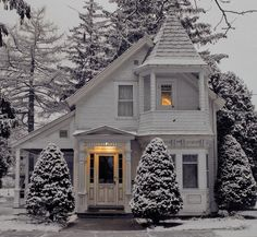 Winter came early. Catch up to winter proof you home now. Call for your home insurance needs. Cute House, My House, Cottage House, Hygge, Porches, Best Places To Live, Picture Credit, House Goals, Photos