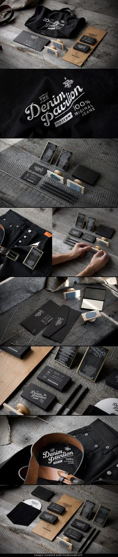 Denim Pavilion logo corporate branding visual graphic identity barber design business card foil print clothing jeans store bag