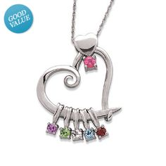 I've tagged a product on Zales: Sterling Silver Family Birthstone Heart Pendant (8 Stones)