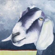 """Nubian Goat, """"Have You Ever Seen The Rain"""" original painting by Tracy Anderson at KikirooCafe on Etsy"""