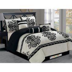 HG station 11-Pc Modern Chic Felt Damask Floral Motif Comforter Curtain Set Beige Off-White Black Queen - Bed & Bath - Decorative Bedding - Comforters & Sets