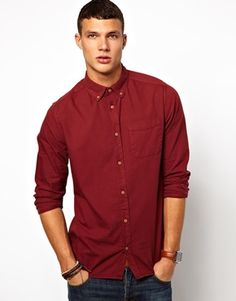 River Island Oxford Shirt in Berry Red