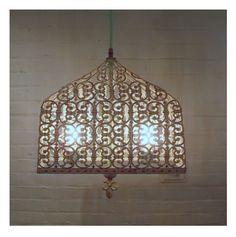 Metal bird cage (sculptural lamp) chandelier