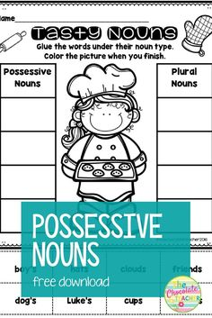 Do your students struggle with the difference between possessive and plural nouns? This is a free download for you to use with your first and second grade students to help them learn the difference. First Grade Activities, Grammar Activities, Grammar Lessons, Grammar Worksheets, Free Activities, Kindergarten Worksheets, Teaching Resources, Teaching Ideas, Nouns First Grade