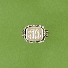 Monogrammed Sterling Silver Filigree Ring from The Monogram Merchant