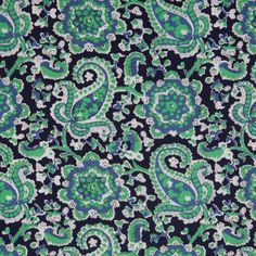 Navy/Bright Green Paisley Printed Stretch Cotton Poplin