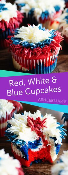 These firework cupcakes are sweetly patriotic, perfect for the of July! It's hard to say whether it's funner to frost or to eat them. Healthy Cake Recipes, Best Cake Recipes, Real Food Recipes, Easy Recipes, Amazing Recipes, Favorite Recipes, Small Desserts, Easy Desserts, Dessert Recipes