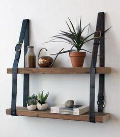 Gorgeous DIY leather belt & wood shelves from Design Sponge.