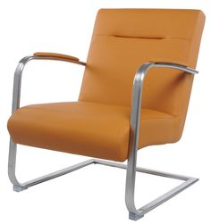 Jerzy KD PU Arm Chair Brushed Stainless Steel Frame in Turmeric - NPD