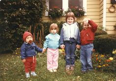 From left to right, Jason, Carly, Morgan and Jesse in front of my house, a long time ago. They are all grown up now, with families of their own. Seems like yesterday...