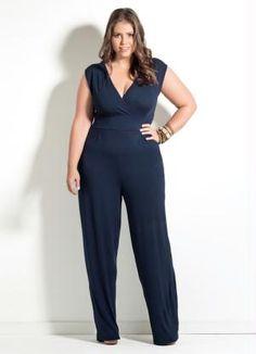 Macacão Pantalona Quintess (Marinho) Plus Size