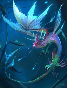 Faerie Dragon by Carolina-Eade on DeviantArt - Drachen - Art Sketches Mythical Creatures Art, Mythological Creatures, Magical Creatures, Night Creatures, Lovely Creatures, Fantasy World, Fantasy Art, Dark Fantasy, Dragon Artwork