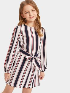 8859d2d2827 Girls Keyhole Back Belted Striped Dress -SHEIN(SHEINSIDE) Вечерние Платья
