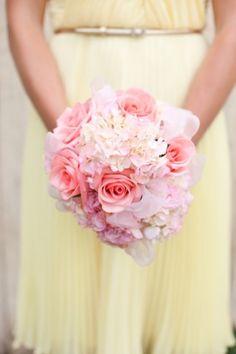 pink and yellow bridesmaid